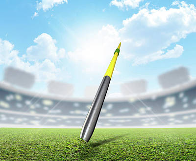 Stadium Digital Art - Javelin In Stadium And Green Turf by Allan Swart