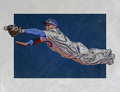 Baseball Glove Mixed Media - Javier Baez Chicago Cubs Art 2 by Joe Hamilton