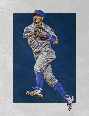 Baseball Glove Mixed Media - Javier Baez Chicago Cubs Art by Joe Hamilton
