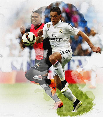 Javier Hernandez Fights For The Ball  Original by Don Kuing