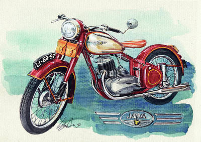 Cycles Painting - Jawa Motor Cycle by Yoshiharu Miyakawa
