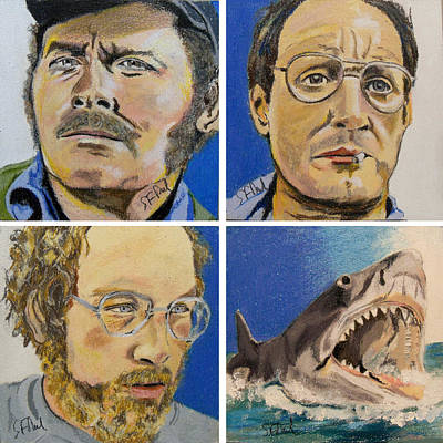 Richard Dreyfuss Painting - Jaws Squared by Steve Teets