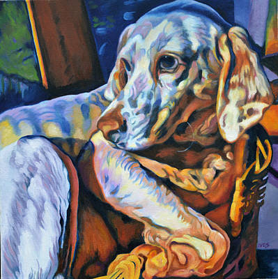 Painting - Abandoned Hunting Dog Jax by Rebecca Ives