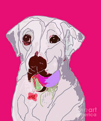 Digital Art - Jax With Ball In Pink by Ania M Milo