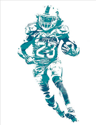 Dolphin Mixed Media - Jay Ajayi Miami Dolphins Pixel Art 11 by Joe Hamilton