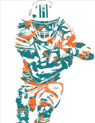Dolphin Mixed Media - Jay Ajayi Miami Dolphins Pixel Art 2 by Joe Hamilton