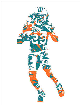 Dolphin Mixed Media - Jay Ajayi Miami Dolphins Pixel Art 3 by Joe Hamilton