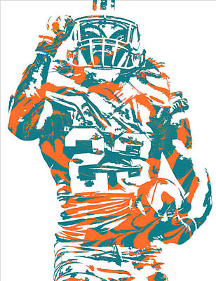 Dolphin Mixed Media - Jay Ajayi Miami Dolphins Pixel Art 5 by Joe Hamilton