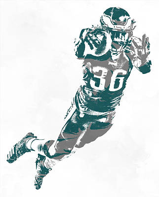 Mixed Media - Jay Ajayi Philadelphia Eagles Pixel Art 2 by Joe Hamilton