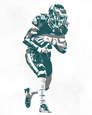 Mixed Media - Jay Ajayi Philadelphia Eagles Pixel Art 3 by Joe Hamilton