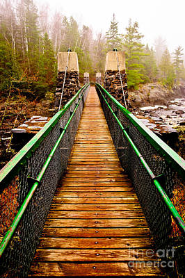 Photograph - Jay Cooke Hanging Bridge In Fog by Mark David Zahn