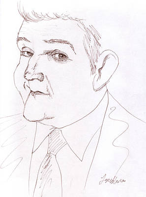 Sketch Drawing - Jay Leno by M Valeriano