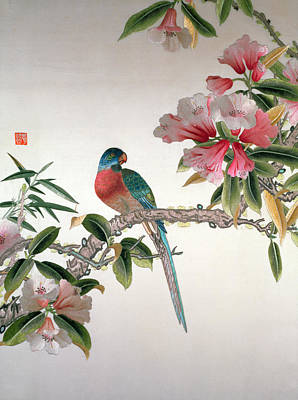 Japanese Silk Tapestry - Textile - Jay On A Flowering Branch by Chinese School