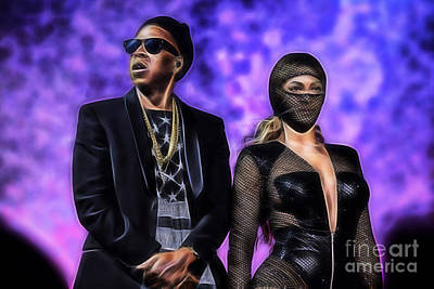 Jay Z Mixed Media - Jay Z And Beyonce Collection by Marvin Blaine