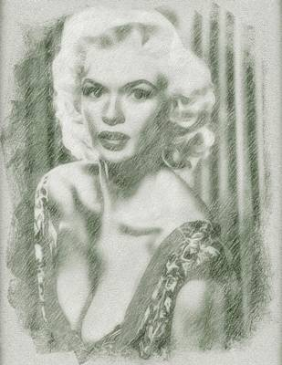 Musicians Drawings Rights Managed Images - Jayne Mansfield by John Springfield Royalty-Free Image by John Springfield
