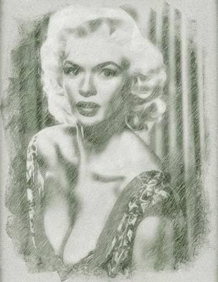 Celebrity Drawing - Jayne Mansfield By John Springfield by John Springfield