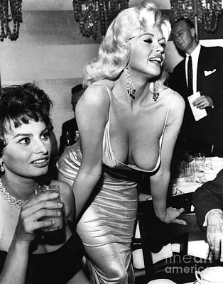 Photograph - Jayne Mansfield Hollywood Actress And, Italian Actress Sophia Loren 1957 by California Views Mr Pat Hathaway Archives
