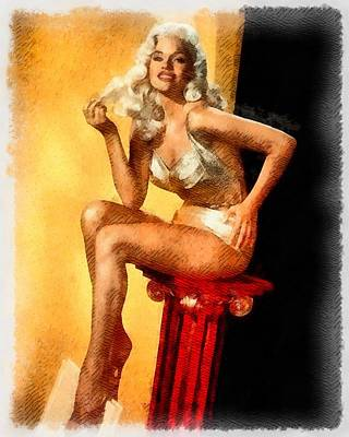 Elvis Presley Painting - Jayne Mansfield Hollywood Actress And Pinup by Frank Falcon