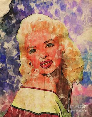 Film Noir Digital Art - Jayne Mansfield Hollywood Actress And Pinup by Mary Bassett