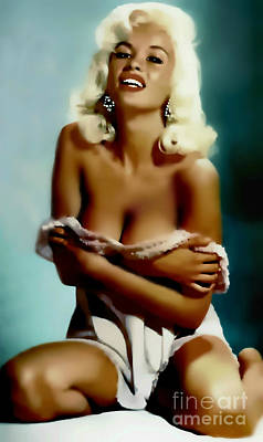 1950s Movies Painting - Jayne Mansfield - Watercolor Painting by Ian Gledhill