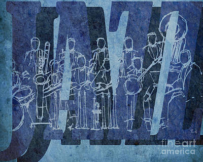 Trumpet Mixed Media - Jazz 30 Orchestra Blue by Pablo Franchi