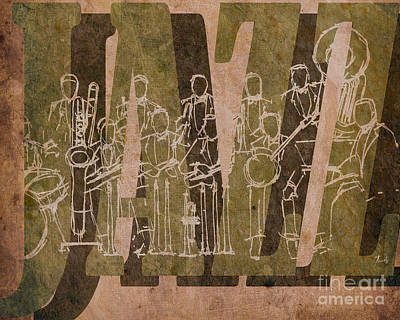 Trumpet Mixed Media - Jazz 30 Orchestra Brown by Pablo Franchi