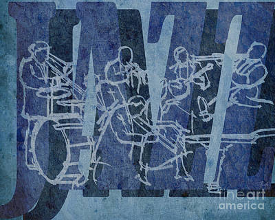 Trumpet Mixed Media - Jazz 32 Hot Seven - Blue by Pablo Franchi