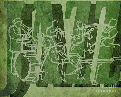Trumpet Mixed Media - Jazz 32 Hot Seven - Green by Pablo Franchi