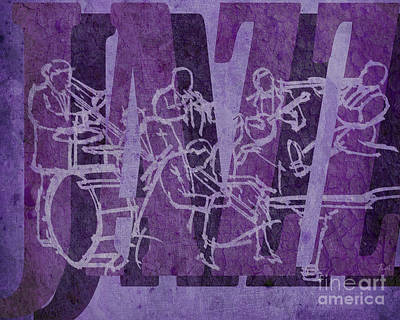 Trumpet Mixed Media - Jazz 32 Hot Seven - Purple by Pablo Franchi