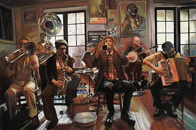 Jazz Painting Royalty Free Images - Jazz A 7 Royalty-Free Image by Guido Borelli