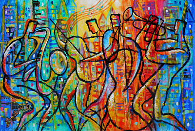 Trumpet Painting - Jazz And The City by Leon Zernitsky