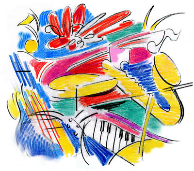Drawing - Jazz Art by Rosanne Licciardi