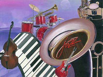Drum Set Painting - Jazz At Sunset by Heidi Meulenberg