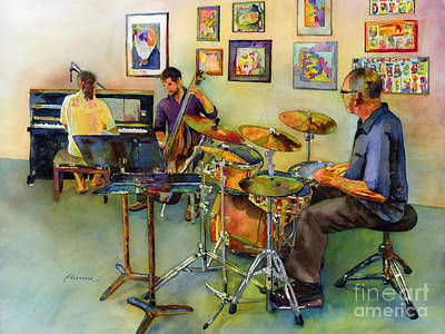 Drummer Painting - Jazz At The Gallery by Hailey E Herrera