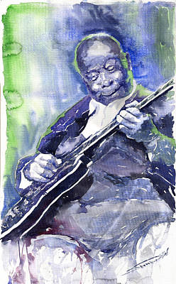 Watercolor Watercolour Figurativ Portret Painting - Jazz B B King 02 by Yuriy  Shevchuk