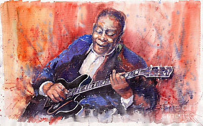 Watercolour Painting - Jazz B B King 06 A by Yuriy  Shevchuk