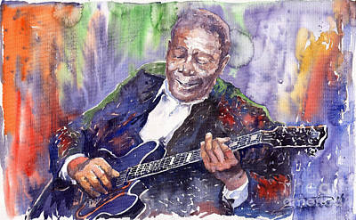 Watercolour Painting - Jazz B B King 06 by Yuriy  Shevchuk
