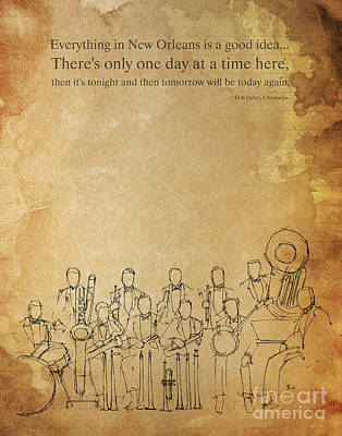 Jazz Band Drawing - Jazz Band And Music Quote by Pablo Franchi