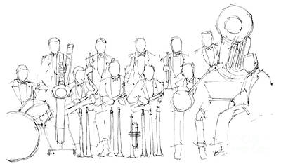 Jazz Band Drawing - Jazz Band by Pablo Franchi