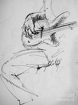 Jazz Bass Guitarist Art Print by Jamey Balester