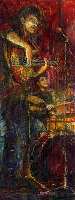 Figurativ Painting - Jazz Bass Guitarist by Yuriy  Shevchuk