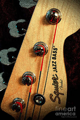 Digital Art - Jazz Bass Headstock by Todd Blanchard
