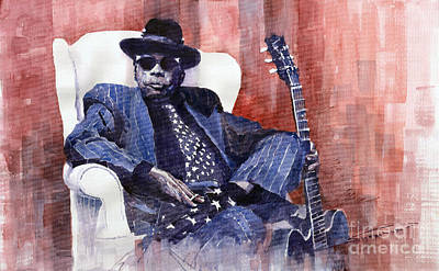 Watercolour Painting - Jazz Bluesman John Lee Hooker 02 by Yuriy Shevchuk
