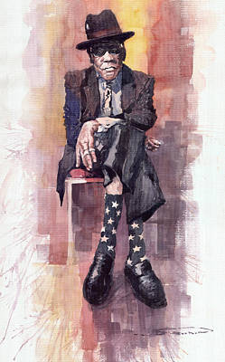 Jazz Legends Wall Art - Painting - Jazz Bluesman John Lee Hooker by Yuriy Shevchuk