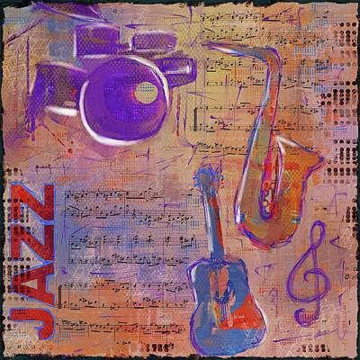 Eduardo Tavares Mixed Media Royalty Free Images - JAZZ Collage Painting Royalty-Free Image by Eduardo Tavares
