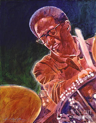 Drummer Painting - Jazz Drummer Brian Blades by David Lloyd Glover