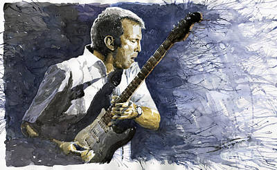 Watercolour Painting - Jazz Eric Clapton 1 by Yuriy  Shevchuk