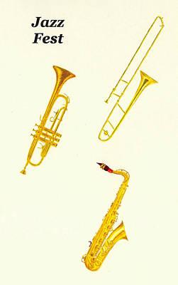 Trumpet Painting - Jazz Fest by Michael Vigliotti