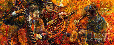 Saxophon Painting - Jazz Gold Jazz by Yuriy  Shevchuk