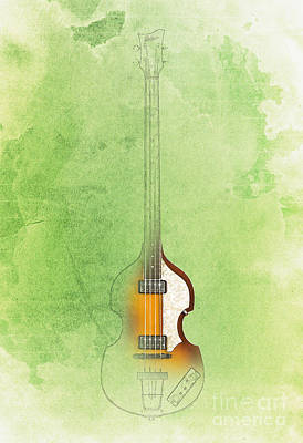 Hofner Painting - Jazz Green Bass by Pablo Franchi